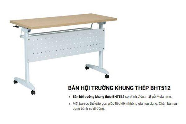 Bàn hội trường chân sắt mặt gỗ công nghiệp Hòa Phát BHT512