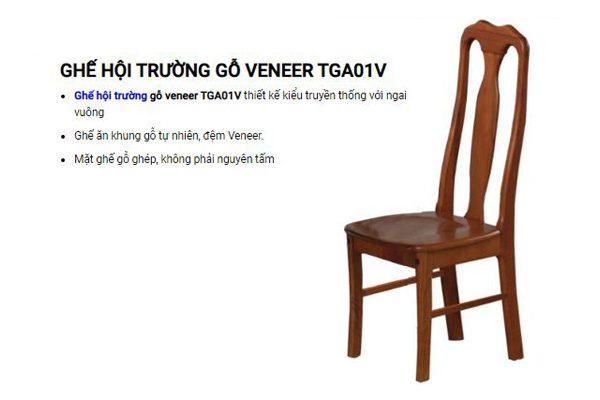 Ghế hội trường khung gỗ mặt đệm Veneer TGA01V